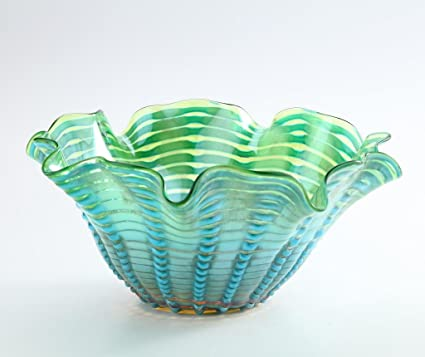 Amazon New 14 Hand Blown Glass Murano Art Style Vase Bowl Blue