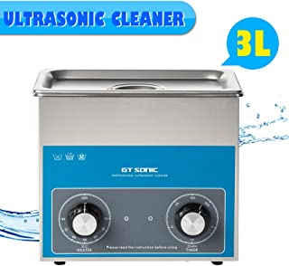 Houzetek 3L Ultrasonic Cleaner 40KHz with Digital Heating Timer Adjustable,Household Steel Ultrasonic Cleaning Machine with Basket for Jewelry, Glasses,Metal Parts,Watches,Medical etc.