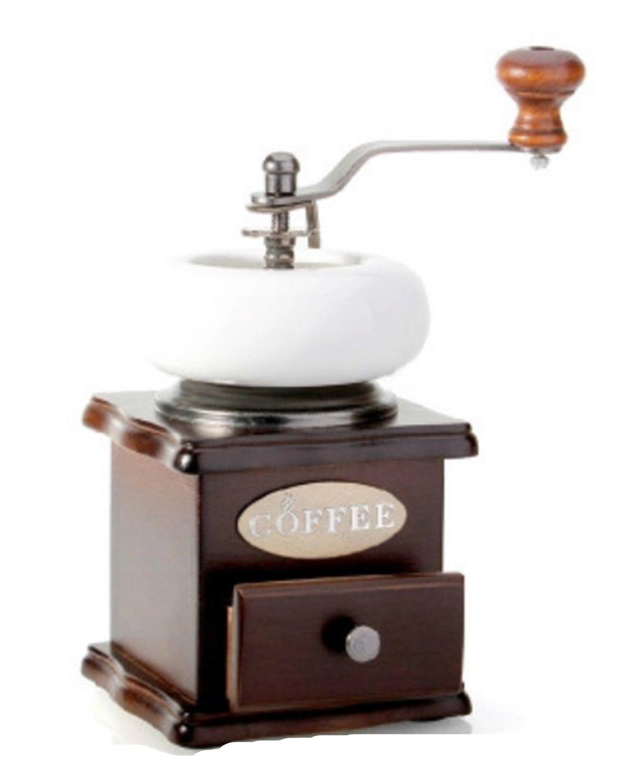 Fanessy molinillo de café en madera antigua - Molinillo manual con pequeño cajón grano de café Espresso Cappuccino con Volume ligera, brun+blanc: Amazon.es: ...