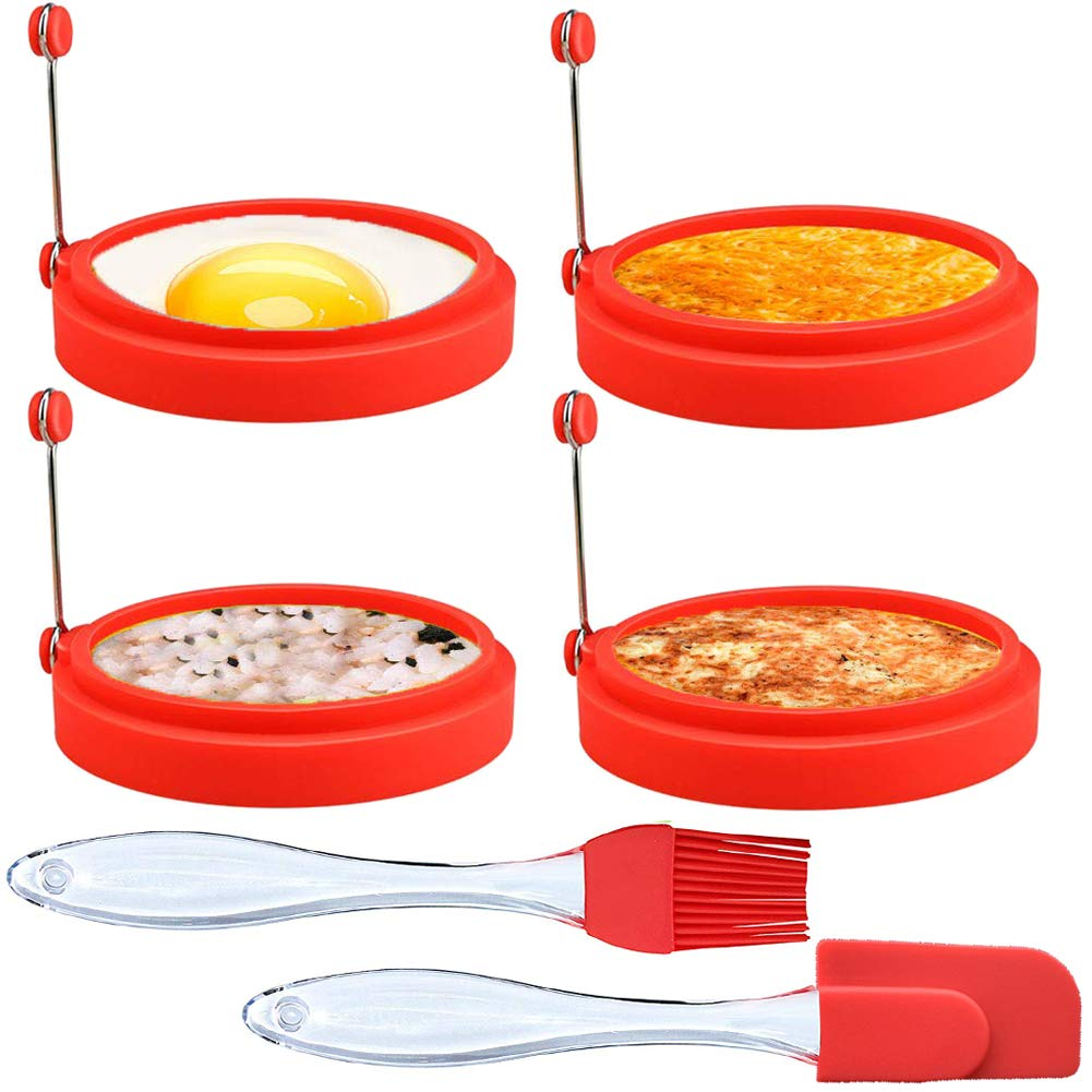 New Egg Ring 4-Pack Silicone Egg Rings Non Stick Perfect Fried Egg Mold or Pancake Rings, Egg Cooking Rings for Stunning Breakfasts Every Time Included ($9 Value) Free Silicone Brush and Egg Spatula