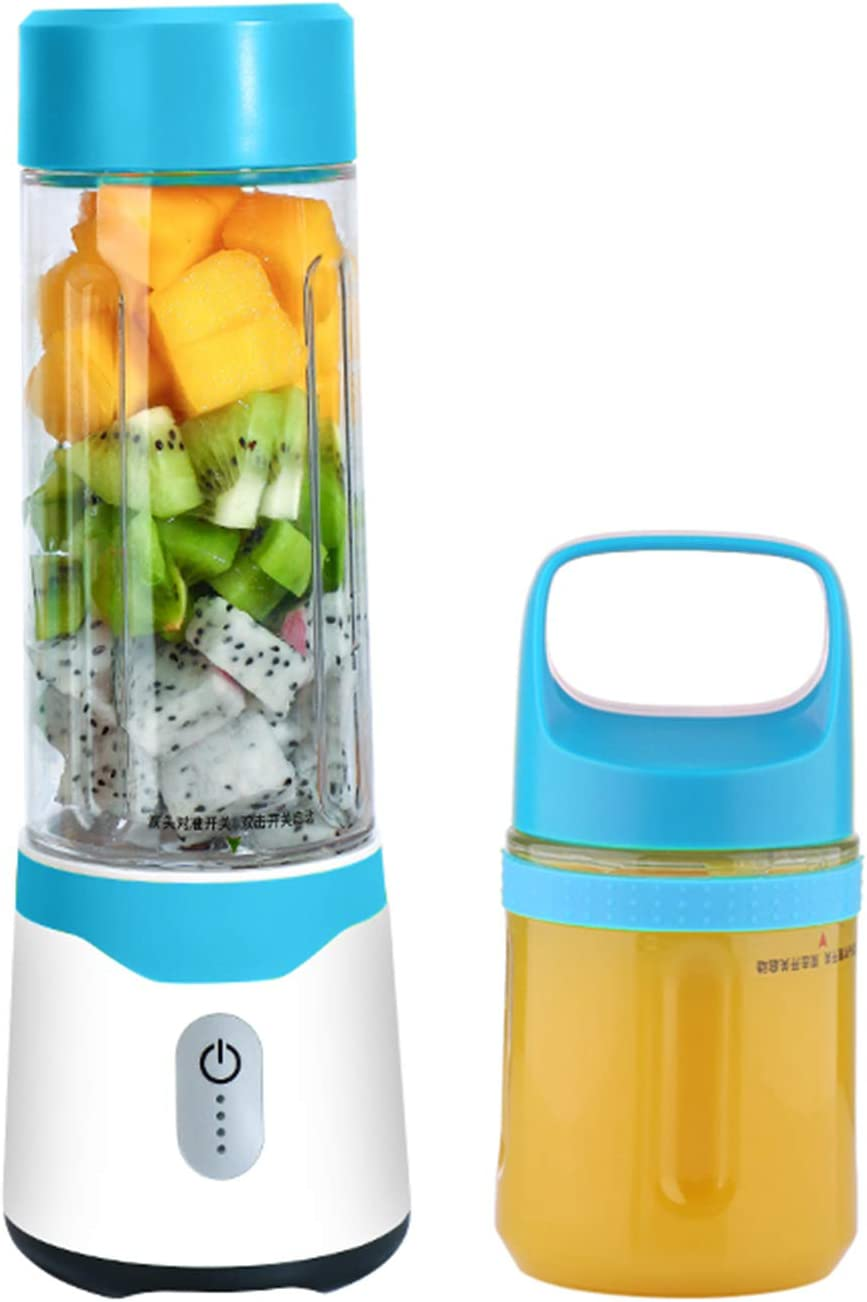 ZOUREMART Portable Fruit blender,Personal mini Size Blender for Smoothies and Shakes,Six blades in 3D for Superb Mixing,17oz/500ML USB Rechargeable Juicer Cup,4000mAh Powerful Handheld With Filter grid Fruit Mixer Machine for Home or Sports,Blue,Gift .