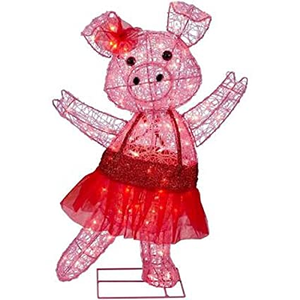 christmas 32 acrylic pig with bow in tutu outdoor yard decoration - Pig Christmas Decorations Outdoors