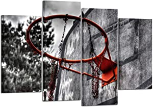 Kreative Arts 4 Piece Black White and Red Canvas Wall Art Old Basketball Poster Artwork Prints Vintage Modern Home Decor Stretched and Framed Ready to Hang for Living Room