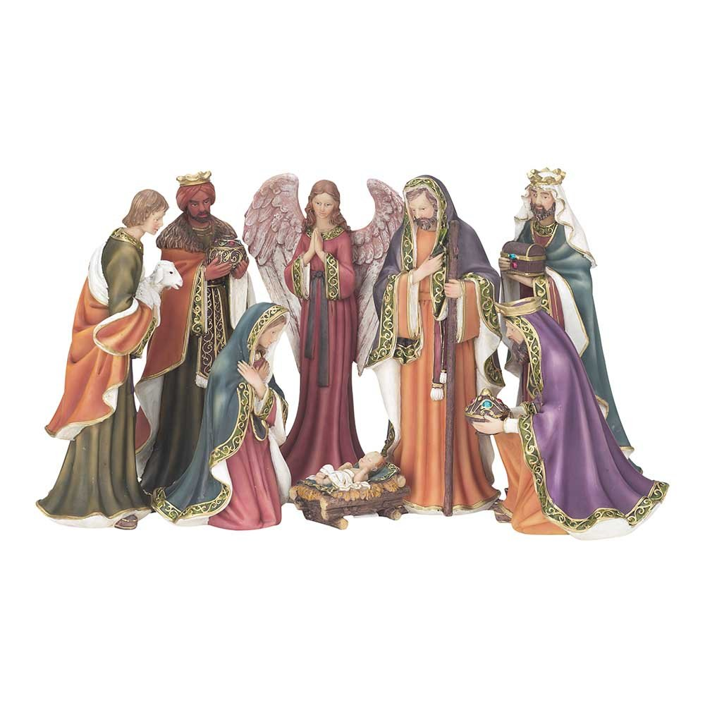 Gold Tone Filigree Trim 7 inch Resin Stone Christmas Nativity 8 Piece Figurine Set by Dicksons