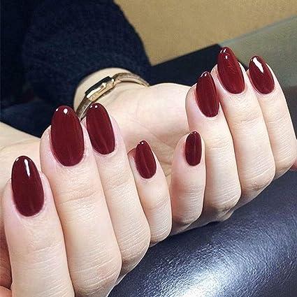 Jovono - 24 Uñas postizas de colores lisos rojas, puntas ...