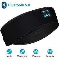 Sleep Headphones, Sleep Headphones Bluetooth, Headband Headphones with Built -in Speakers, Sports Headband with Bluetooth Headphones for Sleeping, Running Free Size Black