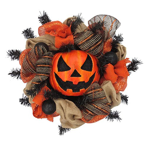 Halloween Wreaths (Halloween Large Pumpkin Mesh Wreath Halloween Decoration)
