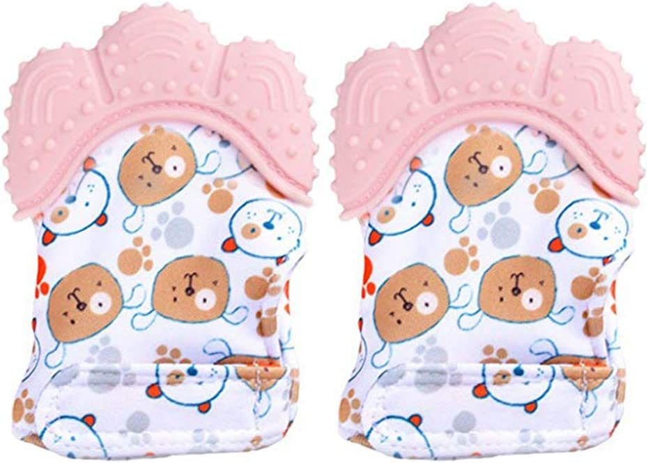 Aijian Baby Teething Mittens Self Soothing Pain Relief Mitt,Prevent Scratches Protection Glove,BPA-Free,for 0-6 Month Infants B-Pink