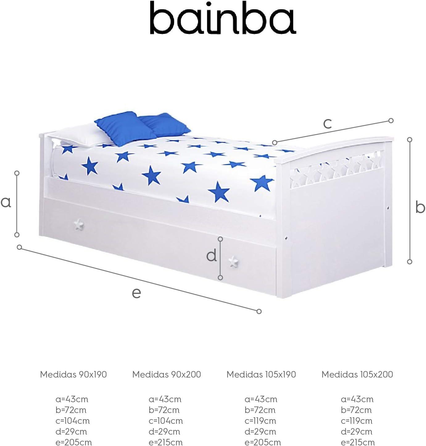 Cama Nido Estrellas (Colchón 105 X 200, Blanco)