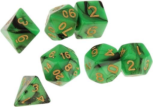P Prettyia Set de 7 Dados para Dungeons Juego de Mesa - 6 Colores Opcionales - Negro Verde: Amazon.es: Juguetes y juegos