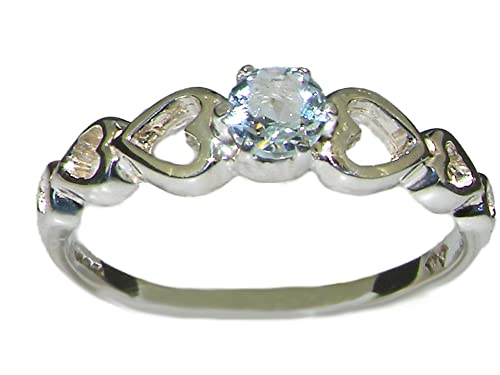 925 Sterling Silver Real Genuine Aquamarine Womens Band Ring