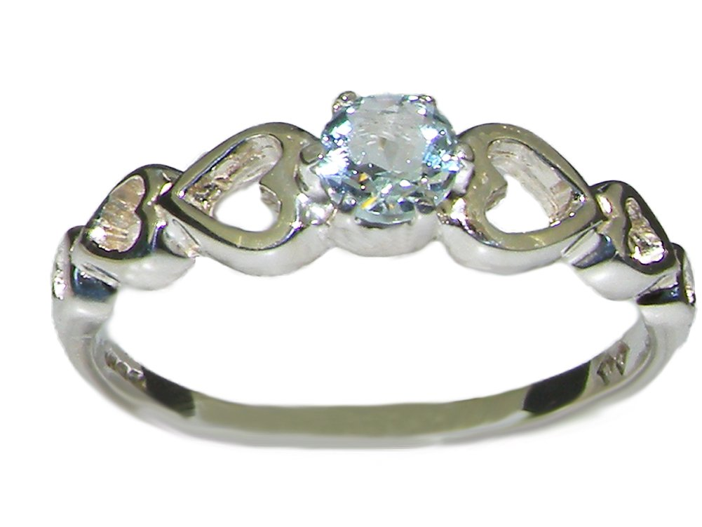 925 Sterling Silver Natural Aquamarine Womens Anniversary Ring - Size 10.25