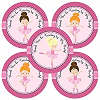 Little Girl Ballerina Thank You Sticker Labels - Kids Children Birthday Party Supplies - Set of 30