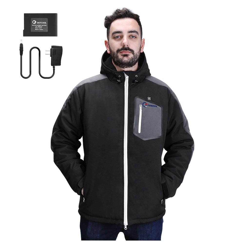 OUTCOOL Men's Soft Shell Heated Jacket Kit With Hood Waterproof Windproof Winter Jacket(L)
