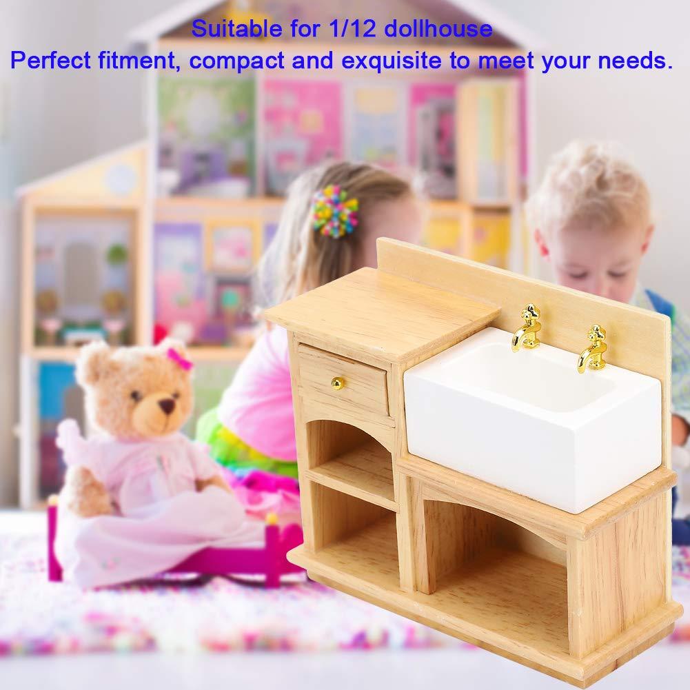 Lavello 1:12 Mobili in Miniatura Lavello da Cucina Realistico per Cucina Bagno Giocattolo Cognitivo Decorazioni Compleanno Natale Regalo Simulazione Lavabo in Legno per Casa delle Bambole