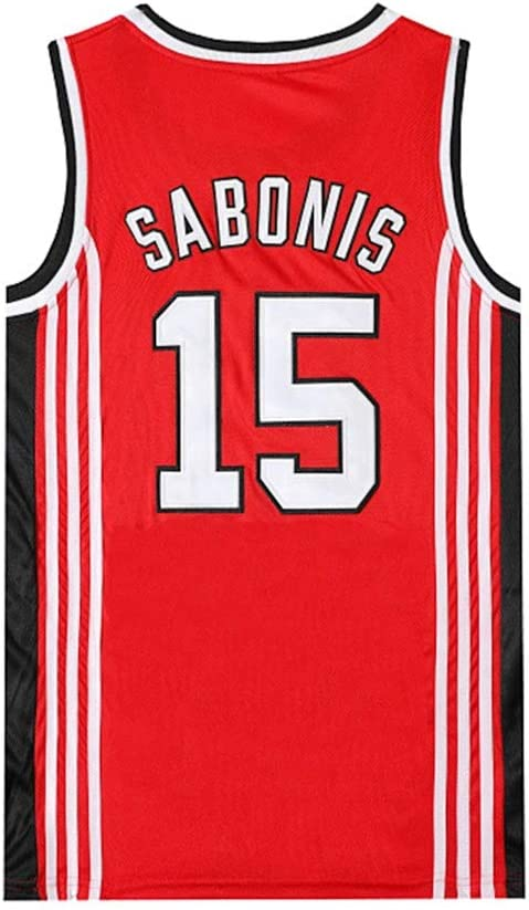 Aojing CCCP Sabonis 15 Unisex Sin Mangas Camiseta de Baloncesto Uniforme Nba Swingman Jersey City Versi/ón Red Movie Camisas