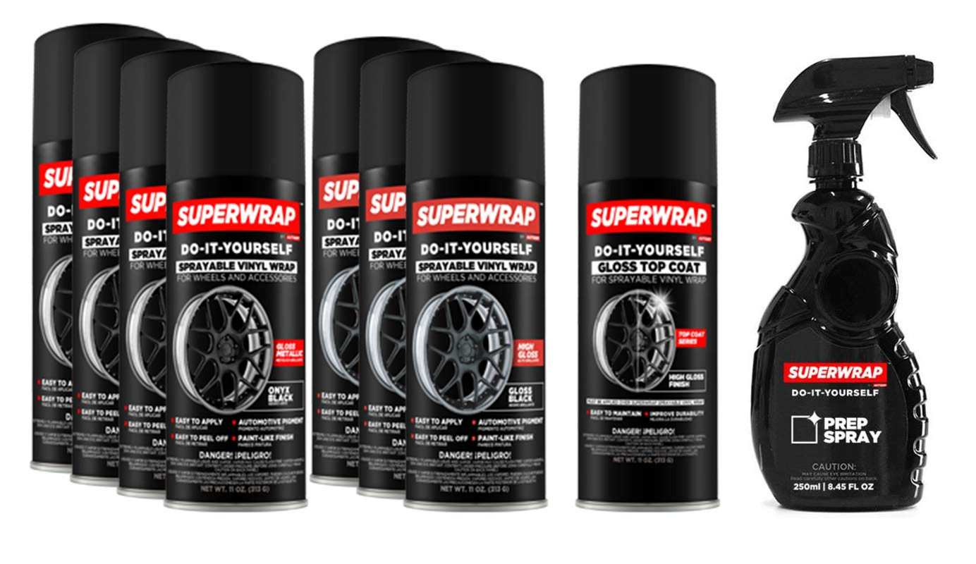 Superwrap Sprayable Vinyl Wrap - Wheels Kits 20'' to 22'' - Onyx Black