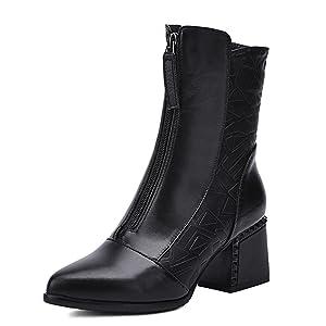 Nine Seven Genuine Leather Women's Pointed Toe Chunky Heel Zip Handmade Boot (9, brown)