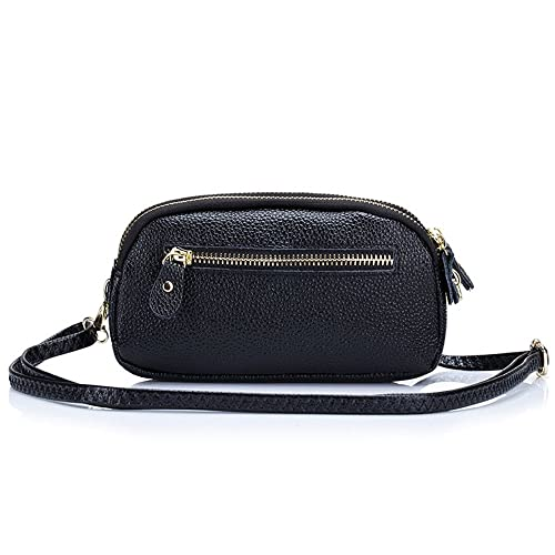 6a4be2a06105dd Aladin Womens Small Leather Crossbody Bag / Wristlet Purse 2 In 1 Handbag,  Triple Zipper