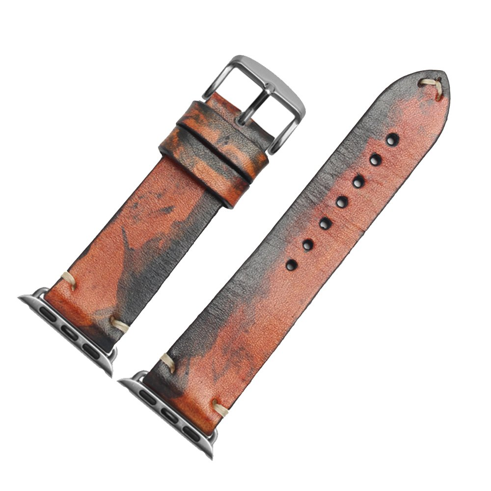 zhuolei 4色Hand Made Dyeing Leather Watch Band withレトロパターンGeneric for Apple Watch 1 / 2 / 3 withサイズ38 mm 42 mm 22mm with gold buckle & connector オレンジ/ブルー 22mm with gold buckle & connector|オレンジ/ブルー オレンジ/ブルー 22mm with gold buckle & connector B07CM8C2VX