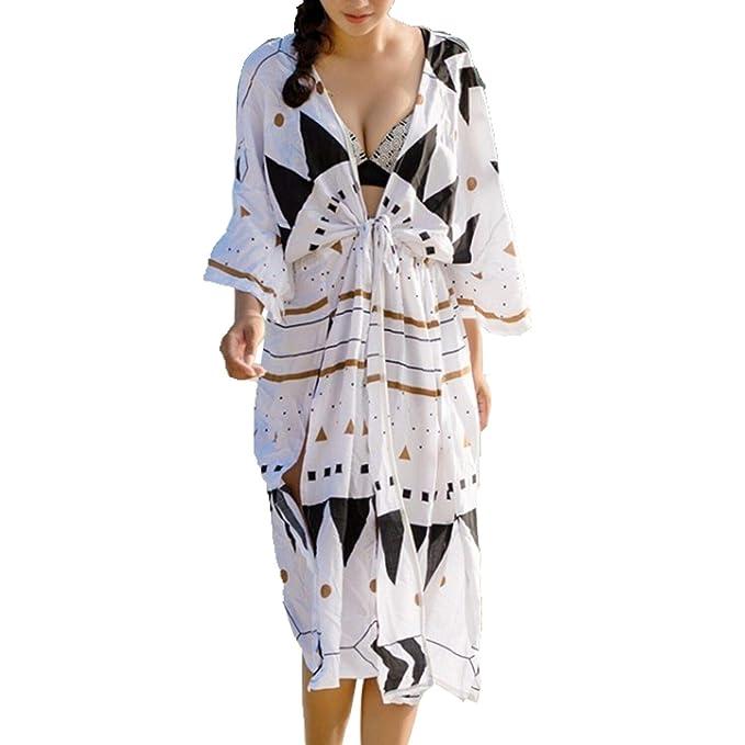more photos b258c 8dcca Oyoden Copricostume Mare Donna Parei Abito da Spiaggia Cardigan Caftano  Lungo Costume da Bagno Kimono Estivo
