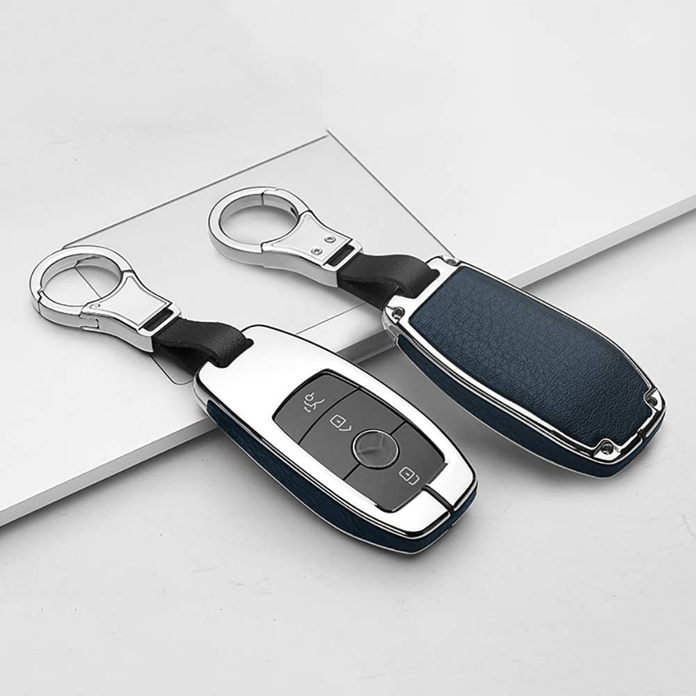 ontto Smart Car Key Fob Cover Holder Metal and Leather Key Shell Key Case Skin 360 Degree Protection for Mercedes Benz E Class S Class W213 E400 E300 Red