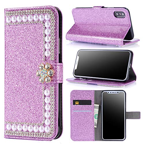 Xmax Case Wallet Glitter Compatible with iPhone Xsmax Cases for Women Pearl Luxury Bling Girly XPhone Xs Max Cover Cash Credit Card Slots Holder IP 10s Max Folio Flip Protective 6.5 lnch (Purple)