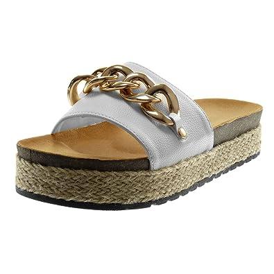 Angkorly Damen Schuhe Mule Sandalen - Slip-on - Plateauschuhe - Kette - Golden - Seil Keilabsatz High Heel 4 cm