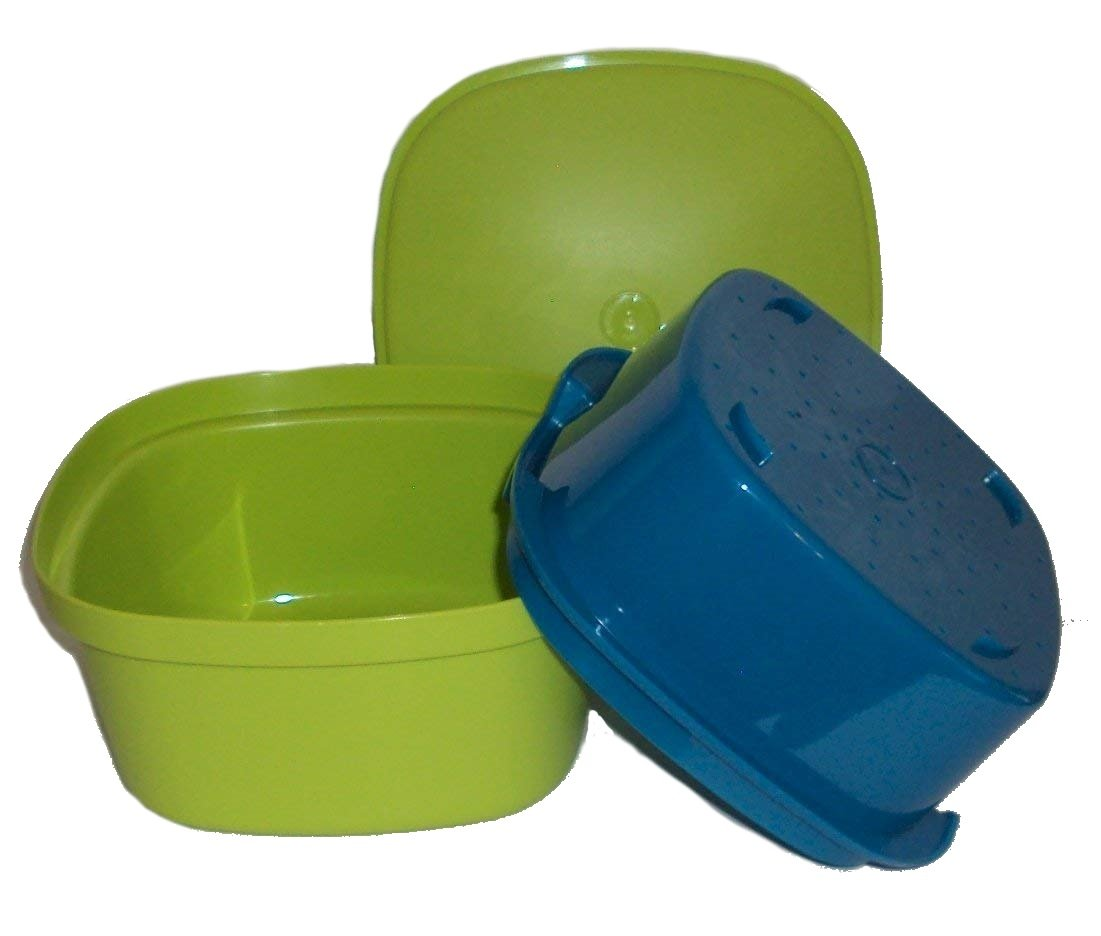 Tupperware Microwave Multi Server Steamer Square Veggie Rice Green and Blue