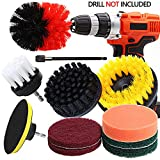 Drill Brush Attachment Set - QY 11 Pieces All Purpose PowerScrubber Cleaning Kit with Scouring Pads/Polishing Sponge/Extension, Cleaning Supplies for Kitchen, Bathroom, Floors, Tile, Car