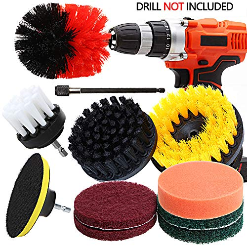 Drill Brush Attachment Set – QY 11 Pieces All Purpose PowerScrubber Cleaning Kit with Scouring Pads/Polishing Sponge/Extension, Cleaning Supplies for Kitchen, Bathroom, Floors, Tile, Car