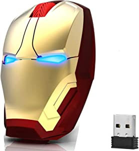 WFB Wireless Mouse Cool Gaming Mice with USB Receiver Less Noise,2.4G Portable Mobile Optical Computer Mouse for Notebook PC Laptop Computer MacBook (Gold)