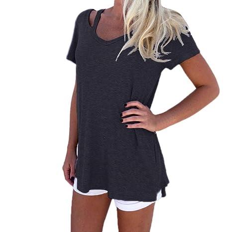 Yeamile💋💝 Camiseta de Mujer Tops Suelto Blusa Causal Camisetas Ocasionales Moda Camiseta de Manga Corta de Mujer Tops de Verano Blusa con Cuello en V ...