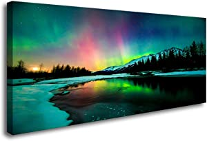 S01975 Wall Art Aurora Scenery Painting on Canvas Prints Stretched and Framed Pictures to Photo Paintings on Canvas Ready to Hang for Home Decorations Office Wall Decor XXLarge 30x60 inch