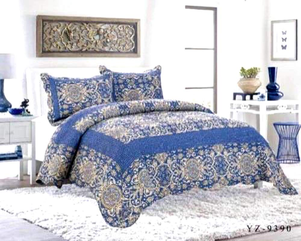 3 Piece Quilted Patchwork 100% Cotton Bedspread With Pillow Cases Bed Throw Fits Double And King Size (9251) BM