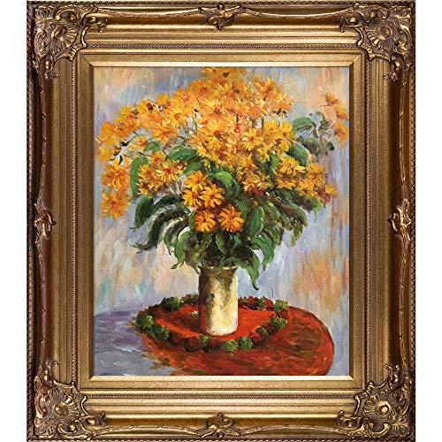 - overstockArt Mon2484-Fr-801G20X24 Monet Vase of Chrysanthemums with Renaissance Bronze Frame, Bronze Finish