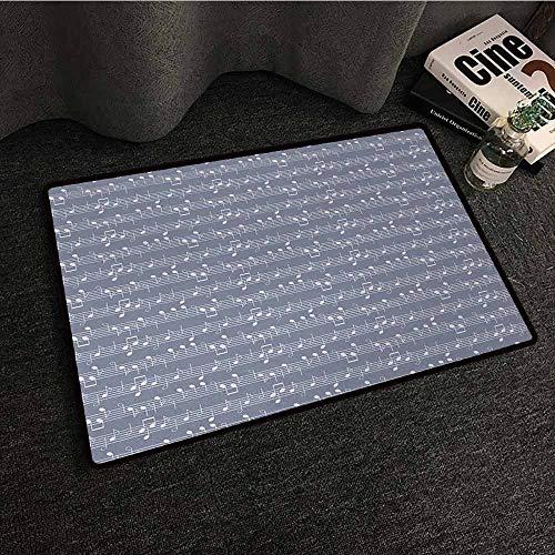 DuckBaby Printed Door mat Grey Piano Music Clay Motif with Various Notes Symbols Beats Melody Rhythm Harmony Jazz Anti-Fading W16 xL24
