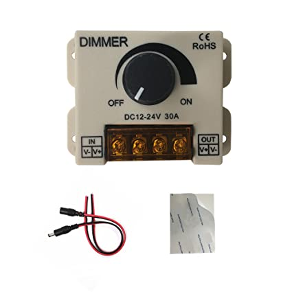 HUALAND PWM 12V 24V 30A/720W LED Dimmer Controller for Single Color LED  Strip Lighting Lamp Ribbon Light Black Button Control Brightness,12v dimmer