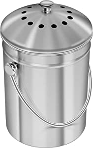 HILFA Compost Bin, Stainless Steel 1.3 Gallon Indoor Compost Bucket for Kitchen Countertop Odorless Compost Pail for Kitchen Food Waste with Carrying Handle and 3 Charcoal Filter,SB3400-BR