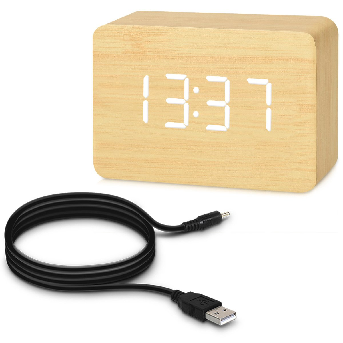 kwmobile Digital Wood Alarm Clock Black with White LED Small LED Bedside Wooden Clock with Temperature and Date Display USB and Battery Powered