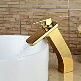 OLSUS Waterfall Ti-PVD Ceramic Valve Single Handle One-Hole Water Inlet Hoses Availble for North America
