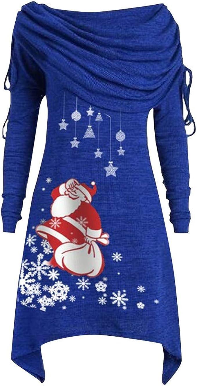 Zylione Mode Frauen Langarmshirt Pullover Weihnachtskleid Damen Kleid  Christmas Kleider Schneemann Drucken Freizeit Party Shirt Bluse Kleid  A Line ...