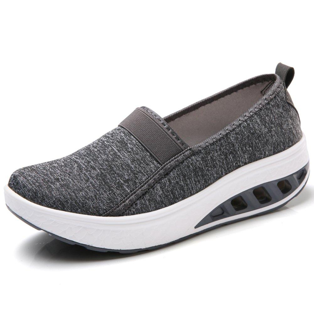 ZYEN-BXXY7693shenhuise39 Women Wedges Loafers Platform Ladies Slip on Wedge Sneakers Low Top Casual Comfortable Walking Tennis Shoes Dark Gray 7.5 B(M) US