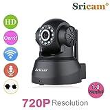 Sricam SP012 - Telecamera Wireless IP Sorveglianza (720P HD 1.0 Megapixel H.264 PT ONVIF, Infrarossi, Visione Notturna, Supporto MicroSD, IP Cam Motorized Wifi, Allarme Email, Tecnologia P2P, Pan/Tilt, Videocamera) Nero