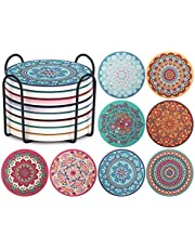 ChefBee Set of 8 Coaster for Drinks - Absorbent Mandala Ceramic Coasters with Cork Base, Metal Holder, Stone Coasters, Set for Birthday, Housewarming