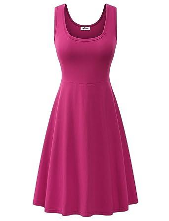 3b741619b554 Herou Women Summer Beach Casual Flared Tank Dress (X-Small, Rose) at Amazon  Women's Clothing store:
