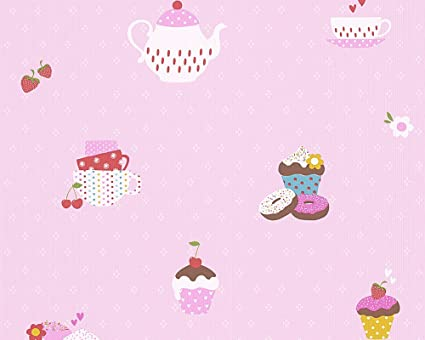 A S Creation 30568 2 Cup Cake Design Wallpaper Pink Multi Colour