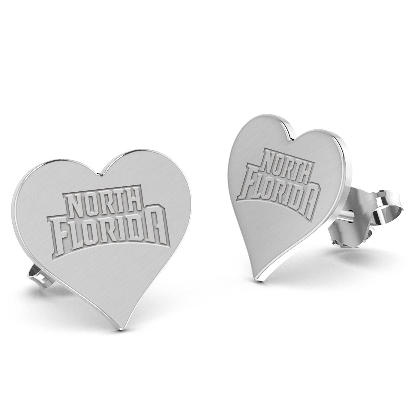 University of North Florida Ospreys Heart Stud Earring See Image on Model for Size Reference