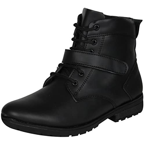 5ce2285579214 BAAROO Men s Mid Top Lace-Up Boots Black  Buy Online at Low Prices ...