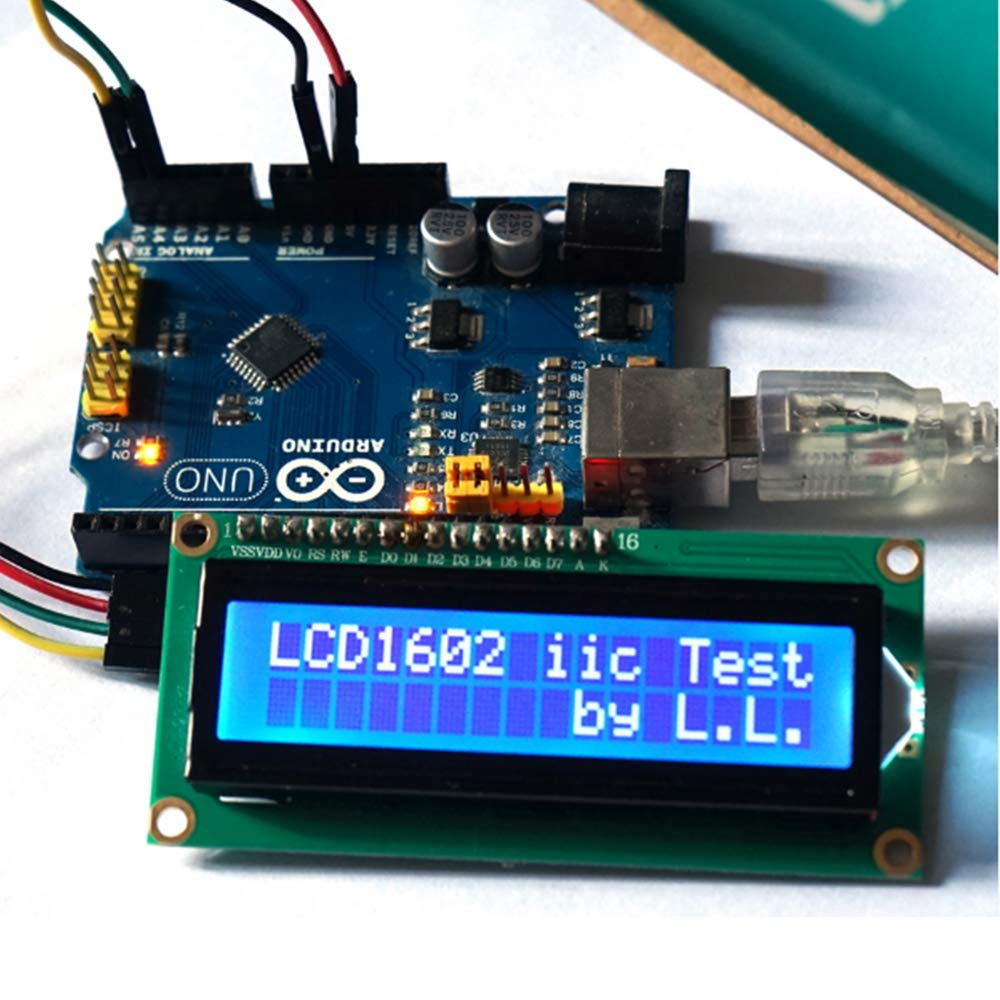 Anmbest 5PCS IIC I2C Serial Interface Board LCD1602 LCD2004 Blue Backlight LCD Display Adapter Plate PCF8574 Expansion Board for Arduino UNO R3 MEGA DIY Kit